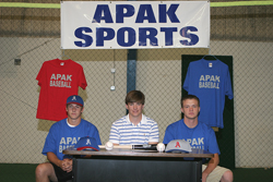 Will on signing day with pitchers Allan and Miller