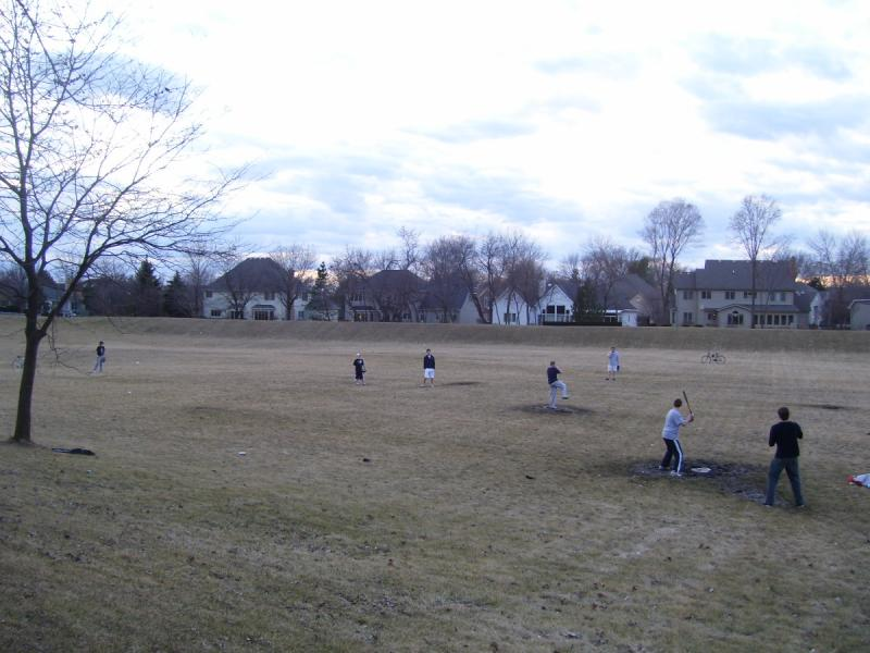 An overview of PineTreePark, during a fieldball game.