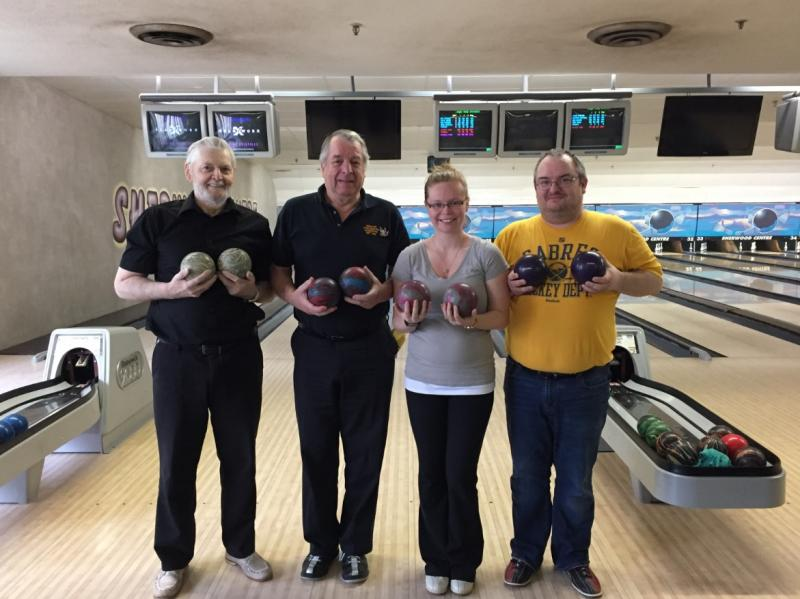 The team of Marv Rioux (242) Bob Slater (301) Heather Matthies (301) and Jason Primmer (242) rolled a team single game of 1104 on April 9/17. Congratulations!!