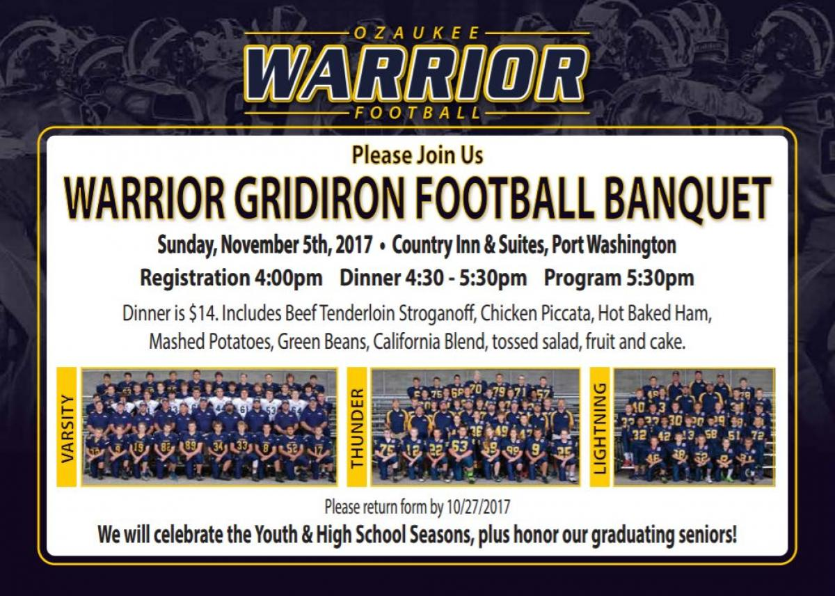 2017 Football Banquet on November 5th - Register Today!