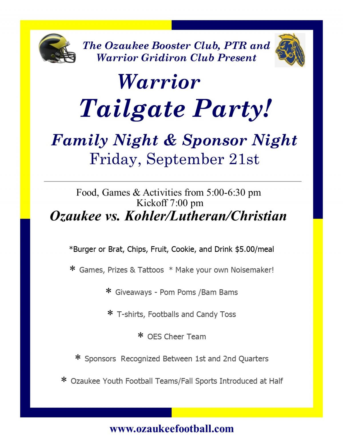 September 21 - Annual Tailgate Party!