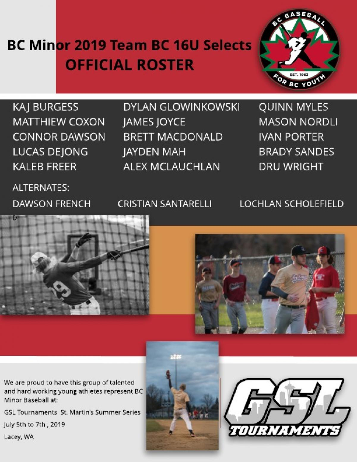 2019 Team BC U16 Roster Released