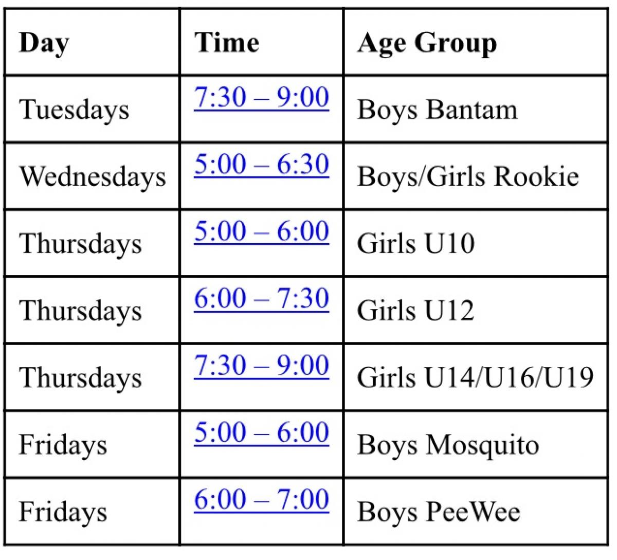 VMB Indoor VJH Gym Practices Schedule for the month of April