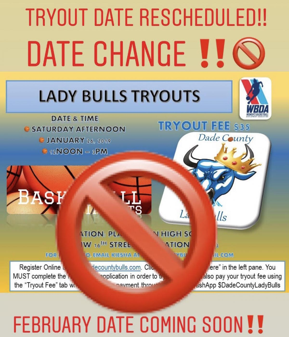 UPDATE: 2019 LADY BULLS TRYOUT Rescheduled