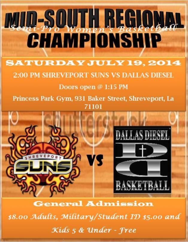 Shreveport Suns face-off against the Dallas Diesel for the Mid-South Regional Championship Title!!!!