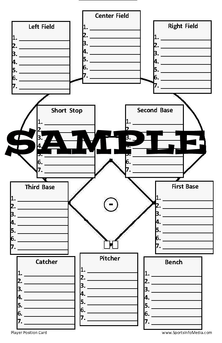 Ballcharts Baseball Pocket Player Position Card
